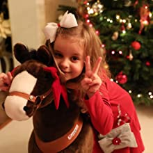 f8fac738 e7e6 4ad2 822a a83b365a11f6. CR0,0,1080,1080 PT0 SX220   - PonyCycle Official Ride-On Horse No Battery No Electricity Mechanical Pony Brown with White Hoof Giddy up Pony Plush Walking Animal for Age 4-9 Years Medium Size - N4151