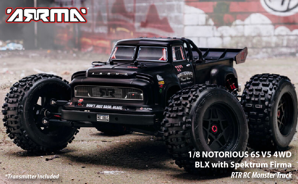 fb478649 2ef9 4e0b 90b2 2e1a85963dc6.  CR0,0,970,600 PT0 SX970 V1    - ARRMA 1/8 Notorious 6S V5 4WD BLX Stunt RC Truck with Spektrum Firma RTR (Transmitter and Receiver Included, Batteries and Charger Required), Black, ARA8611V5T1