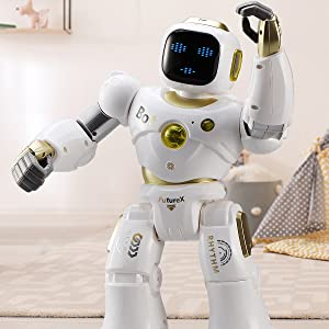 fe79ec17 0add 4909 9707 81ccd06be914.  CR0,0,1200,1200 PT0 SX300 V1    - Ruko AI Robots for Kids, Large Programmable RC Robot Toy with APP Control Voice Command Touch Response Bluetooth Speaker Emoji for 3-12 Years Old Boys Girls (Golden)
