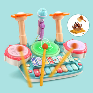 04a8cff7 03ae 457d 9217 a2cb5bb36c9a.  CR0,0,300,300 PT0 SX300 V1    - Besandy 5 in 1 Musical Instruments Toys - Kids Electronic Piano Keyboard Xylophone Drum Toys Set with Light 2 Microphone for Suitable for Children Over 3 Years Old