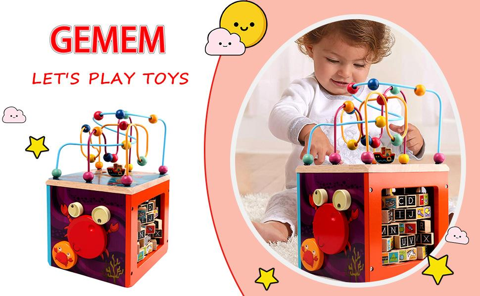 0b47366e 3c93 4026 b2ec 03817875a61c.  CR0,0,970,600 PT0 SX970 V1    - GEMEM Wooden Activity Cube Bead Maze Toy Animal Learning Letters Gear Toys for Toddler Kid