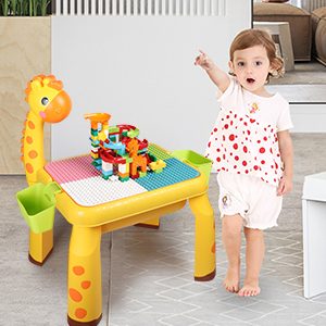237cb8e1 1a8d 4d8b a88a eb4876d63a84.  CR0,0,300,300 PT0 SX300 V1    - Toddler Kids Activity Table Set Table and Chairs Set with Storage,8-in-1 Multi Activity Table Set, Large Building Blocks Compatible Bricks Toy, Toddlers Activity for Boys Girls, USB Supply with Light
