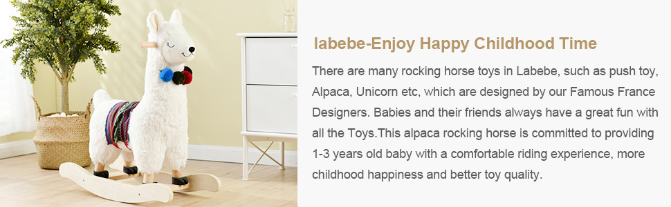 29530c8e cfb0 464c 89df 300e7d835785.  CR0,0,970,300 PT0 SX970 V1    - labebe - Baby Rocking Horse Wooden, Plush Stuffed Rocking Animals White, Kid Ride on Toys for 1-3 Years Old, Llama Rocking Horse for Girl&Boy, Toddler/Infant Rocker for Nursery, Kid Riding Toys/Horse
