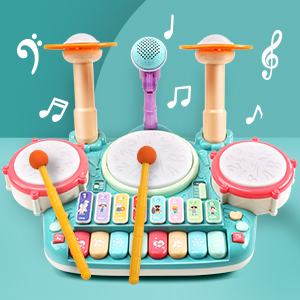 2d742a87 1804 410c 9a8d 5209f5a81285.  CR0,0,300,300 PT0 SX300 V1    - Besandy 5 in 1 Musical Instruments Toys - Kids Electronic Piano Keyboard Xylophone Drum Toys Set with Light 2 Microphone for Suitable for Children Over 3 Years Old