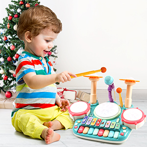 30d132e8 7e1f 4add 9379 73a860b02be6.  CR0,0,300,300 PT0 SX300 V1    - Besandy 5 in 1 Musical Instruments Toys - Kids Electronic Piano Keyboard Xylophone Drum Toys Set with Light 2 Microphone for Suitable for Children Over 3 Years Old