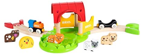31gbMLM1pnL. AC  - Brio World - 33826 My First Farm   12 Piece Wooden Toy Train Set for Kids Ages 18 Months and Up