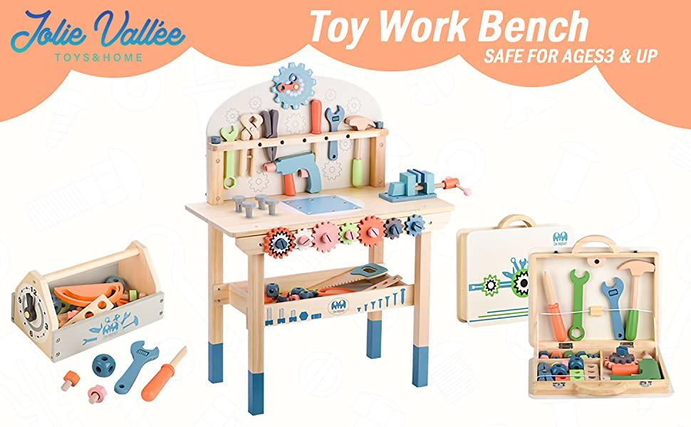 356a1acb 0586 4160 9f2a 107cf963306a.  CR0,0,1455,900 PT0 SX970 V1    - JOLIE VALLÉE TOYS & HOME Workbench Wooden,Tool Bench for Kids Toy Play -Tool Bench Workshop Workbench with Tools Set Wooden Construction Bench Toy for 3 4 5 Year Old Boys Girls