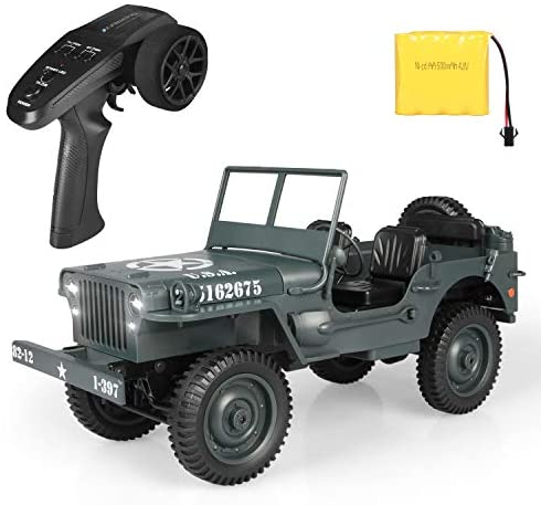 41+JWXm9lQL. AC  - RC Car for Boy Toy,1:10 Scale Simulation Army High Speed 4WD 2.4Ghz RC Cars with Led Light,Military Model Electric Jeep Toys,RC Trucks 4x4 Offroad,Children Gift for Birthday and Christmas (Grey)