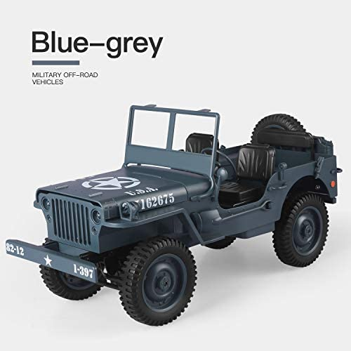 41+dIVd4ANL. AC  - RC Car for Boy Toy,1:10 Scale Simulation Army High Speed 4WD 2.4Ghz RC Cars with Led Light,Military Model Electric Jeep Toys,RC Trucks 4x4 Offroad,Children Gift for Birthday and Christmas (Grey)