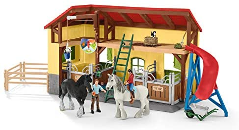 411xpTKI6IL. AC  - Schleich Farm World, 30-Piece Playset, Farm Toys and Farm Animals for Kids Ages 3-8, Horse Stable
