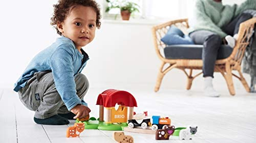 414bC2Rp9DL. AC  - Brio World - 33826 My First Farm   12 Piece Wooden Toy Train Set for Kids Ages 18 Months and Up