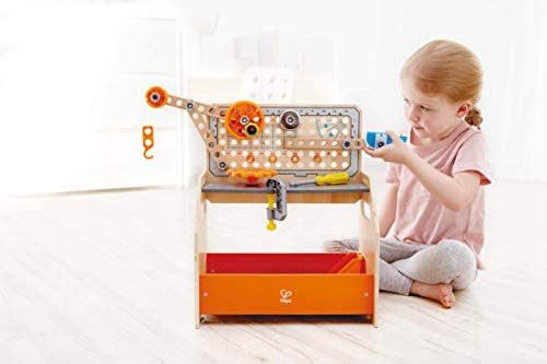 415LypEQGkL. AC  - Hape Discovery Scientific Workbench | Kids Construction Toy, Children's Workshop with Over 10 Possible Creations, Toys for Kids 4+, Multicolored (E3028)