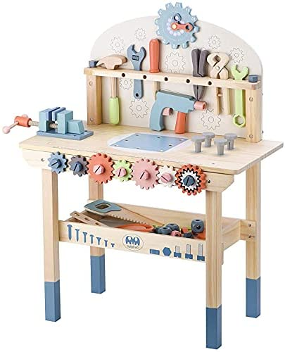 417m82vnPcS. AC  - JOLIE VALLÉE TOYS & HOME Workbench Wooden,Tool Bench for Kids Toy Play -Tool Bench Workshop Workbench with Tools Set Wooden Construction Bench Toy for 3 4 5 Year Old Boys Girls