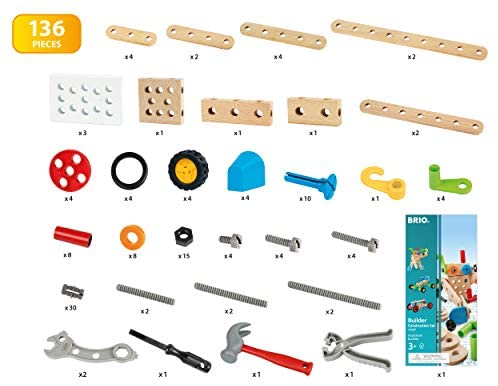 419AKzYceFL. AC  - BRIO Builder 34587 - Builder Construction Set - 136-Piece Construction Set STEM Toy with Wood and Plastic Pieces for Kids Age 3 and Up