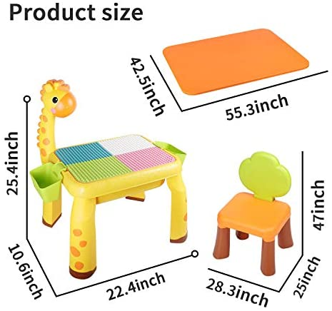41AwBdignrL. AC  - Toddler Kids Activity Table Set Table and Chairs Set with Storage,8-in-1 Multi Activity Table Set, Large Building Blocks Compatible Bricks Toy, Toddlers Activity for Boys Girls, USB Supply with Light