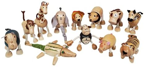 41CCagXrr5S. AC  - TEKOR 12 Bendable Wooden Animals - Early Education Development Wooden Animal Toys