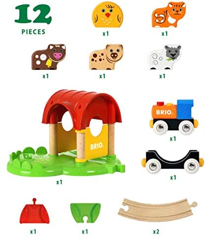 41DQQ40ZBdL. AC  - Brio World - 33826 My First Farm   12 Piece Wooden Toy Train Set for Kids Ages 18 Months and Up