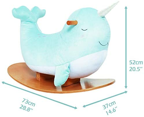 41EUbJPcPSL. AC  - labebe -Narwhal Rocking Horse, Baby Wooden Rocking Chair for Child 1-3 Year Old, Kid Ride On Whale Rocker Animal Toy for Infant/Toddler Girl&Boy, Nursery Birthday Gift
