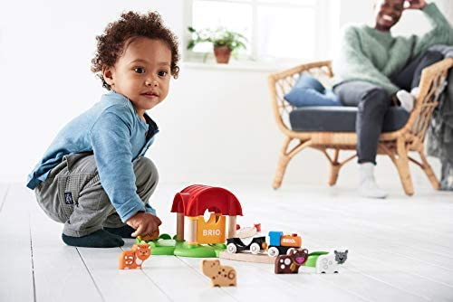 41FnTDyF68L. AC  - Brio World - 33826 My First Farm   12 Piece Wooden Toy Train Set for Kids Ages 18 Months and Up
