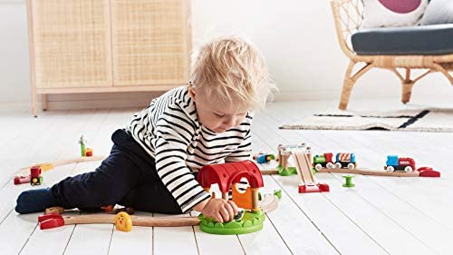 41P9II6hBFL. AC  - Brio World - 33826 My First Farm   12 Piece Wooden Toy Train Set for Kids Ages 18 Months and Up