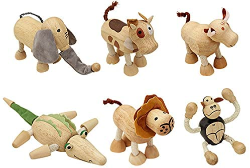 41Pg0WAVkYS. AC  - TEKOR 12 Bendable Wooden Animals - Early Education Development Wooden Animal Toys