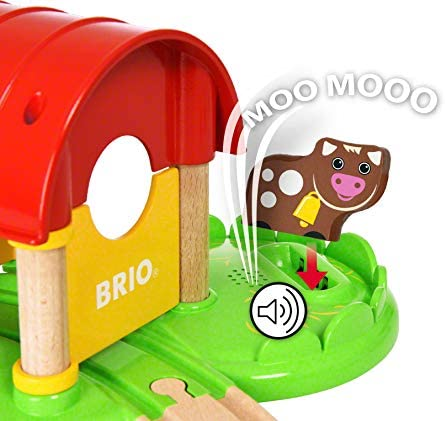 41QuVW7ghTL. AC  - Brio World - 33826 My First Farm   12 Piece Wooden Toy Train Set for Kids Ages 18 Months and Up