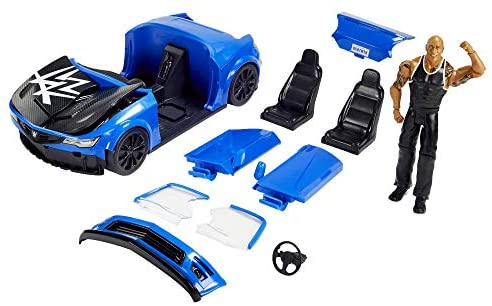 41Ri BvrIbL. AC  - WWE Wrekkin' Slam-Mobile Vehicle (13-in) with Rolling Wheels and 8 Breakable Parts & 6-in The Rock Basic Action Figure, Gift for Ages 6 Years Old and Up [Amazon exclusive]