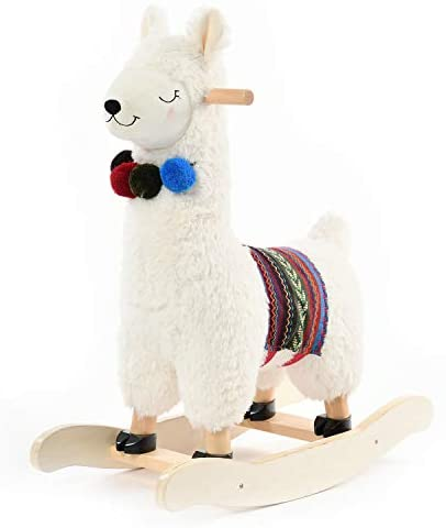 41TPJJ9JD L. AC  - labebe - Baby Rocking Horse Wooden, Plush Stuffed Rocking Animals White, Kid Ride on Toys for 1-3 Years Old, Llama Rocking Horse for Girl&Boy, Toddler/Infant Rocker for Nursery, Kid Riding Toys/Horse