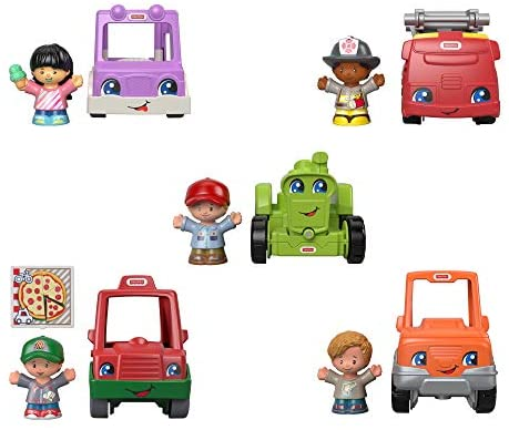 41TYtsWh0xL. AC  - Fisher-Price Little People Around the Neighborhood Vehicle Pack, set of 5 push-along vehicles and 5 figures for toddlers [Amazon Exclusive]