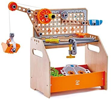 41VazQ4MT1L. AC  - Hape Discovery Scientific Workbench | Kids Construction Toy, Children's Workshop with Over 10 Possible Creations, Toys for Kids 4+, Multicolored (E3028)