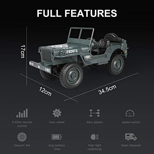 41WXSR0Ep0L. AC  - RC Car for Boy Toy,1:10 Scale Simulation Army High Speed 4WD 2.4Ghz RC Cars with Led Light,Military Model Electric Jeep Toys,RC Trucks 4x4 Offroad,Children Gift for Birthday and Christmas (Grey)