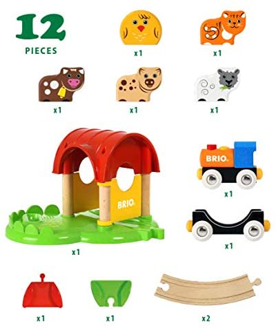 41X1yI8ytNL. AC  - Brio World - 33826 My First Farm   12 Piece Wooden Toy Train Set for Kids Ages 18 Months and Up