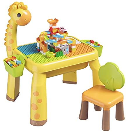 41Xv3GhmlTS. AC  - Toddler Kids Activity Table Set Table and Chairs Set with Storage,8-in-1 Multi Activity Table Set, Large Building Blocks Compatible Bricks Toy, Toddlers Activity for Boys Girls, USB Supply with Light