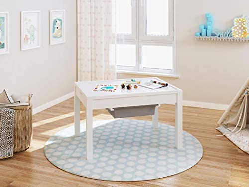41bXBEqkTmL. AC  - UTEX Kids 2 in 1 Large Activity Table with Storage, Construction Table for Kids,Boys,Girls, White