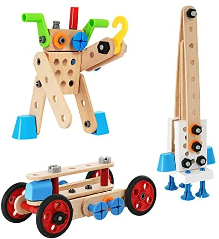 41eEio6uFPS. AC  - BRIO Builder 34587 - Builder Construction Set - 136-Piece Construction Set STEM Toy with Wood and Plastic Pieces for Kids Age 3 and Up