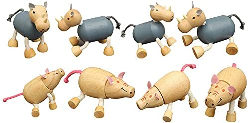 41fsoWTg0AS. AC  - TEKOR 12 Bendable Wooden Animals - Early Education Development Wooden Animal Toys