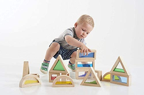 41goO750gzL. AC  - Kidpik Wooden Large Building Blocks for Toddlers Baby Kids 16 Pcs Geometry Sensory Wood Rainbow Stacking Blocks Construction Toys Set Colorful Preschool Learning Educational Toys for Boys Girls