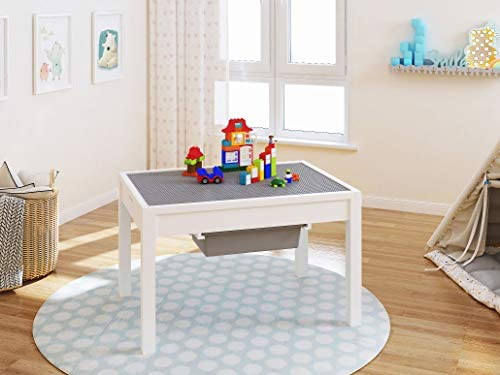 41gz9HNSVFL. AC  - UTEX Kids 2 in 1 Large Activity Table with Storage, Construction Table for Kids,Boys,Girls, White