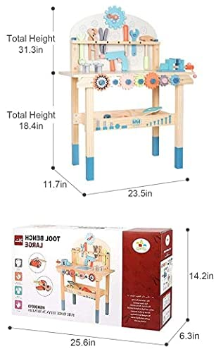 41iV9ITRSOS. AC  - JOLIE VALLÉE TOYS & HOME Workbench Wooden,Tool Bench for Kids Toy Play -Tool Bench Workshop Workbench with Tools Set Wooden Construction Bench Toy for 3 4 5 Year Old Boys Girls