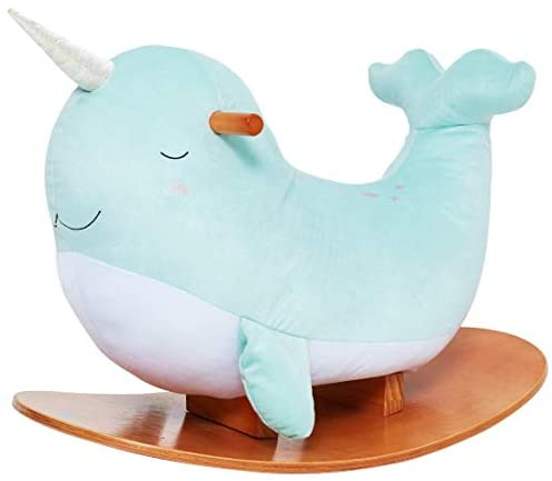 41lAxKPH+cL. AC  - labebe -Narwhal Rocking Horse, Baby Wooden Rocking Chair for Child 1-3 Year Old, Kid Ride On Whale Rocker Animal Toy for Infant/Toddler Girl&Boy, Nursery Birthday Gift