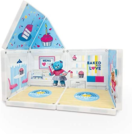 41qqgg4xt3L. AC  - CreateOn Build A Bear Cub Condo Magna-Tile Combo Set. The Original Magnetic Building Tiles Together with Reusable Cling Make Playing Fun, Creative & Colorful Toy for Children Ages 3 Years +