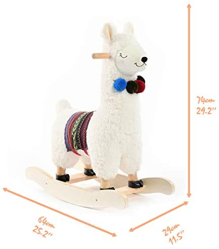 41u2rQh9BlL. AC  - labebe - Baby Rocking Horse Wooden, Plush Stuffed Rocking Animals White, Kid Ride on Toys for 1-3 Years Old, Llama Rocking Horse for Girl&Boy, Toddler/Infant Rocker for Nursery, Kid Riding Toys/Horse