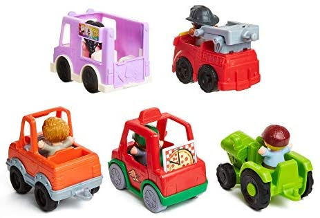 41x+5orsuYL. AC  - Fisher-Price Little People Around the Neighborhood Vehicle Pack, set of 5 push-along vehicles and 5 figures for toddlers [Amazon Exclusive]