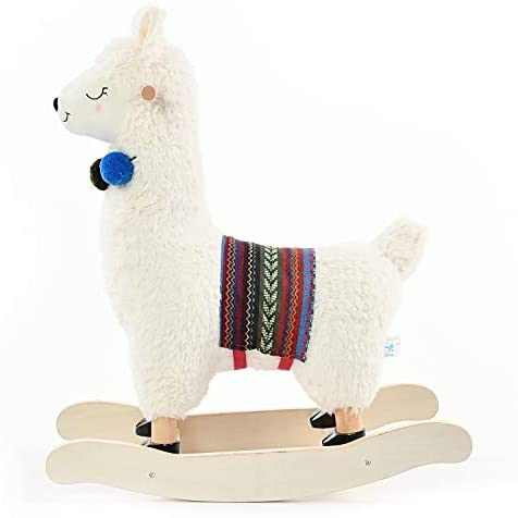 41xhVtVHmiS. AC  - labebe - Baby Rocking Horse Wooden, Plush Stuffed Rocking Animals White, Kid Ride on Toys for 1-3 Years Old, Llama Rocking Horse for Girl&Boy, Toddler/Infant Rocker for Nursery, Kid Riding Toys/Horse