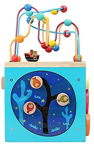 41xhp9W1VfS. AC  - GEMEM Wooden Activity Cube Bead Maze Toy Animal Learning Letters Gear Toys for Toddler Kid