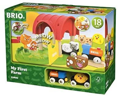 41xiaIV0YTL. AC  - Brio World - 33826 My First Farm   12 Piece Wooden Toy Train Set for Kids Ages 18 Months and Up