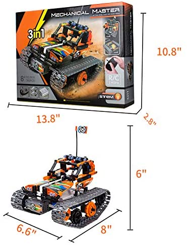 51+ixarClmL. AC  - 3-in-1 STEM Remote Control Building Kits-Tracked Car/Robot/Tank, 2.4Ghz Rechargeable RC Racer Toy Set Gift for 8-12,14 Year Old Boys and Girls, Best Engineering Science Learning Kit for Kids (392pcs)