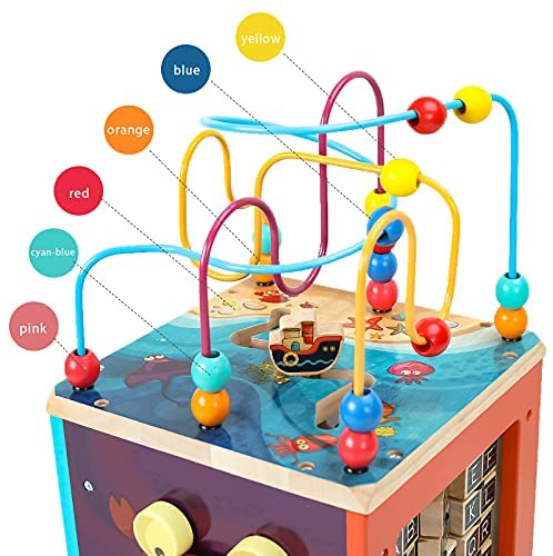 51+m4kZsw+S. AC  - GEMEM Wooden Activity Cube Bead Maze Toy Animal Learning Letters Gear Toys for Toddler Kid