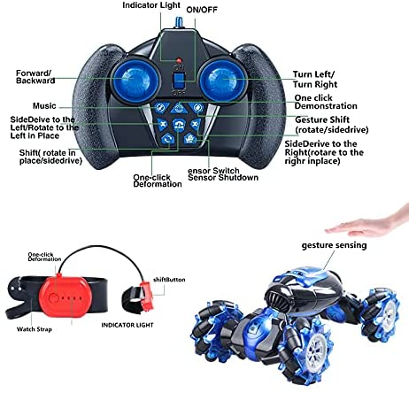51+yeTuvqeS. AC  - RC Stunt Car,1:12 Large RC Drift Car, 4WD 2.4G Gesture Sensing Control Double Sided Rotating Remote Control Car, 360° Flips Twisted Off Road RC Car with 2 Batteries, KB KAIBO Crawler RC Cars for Boys