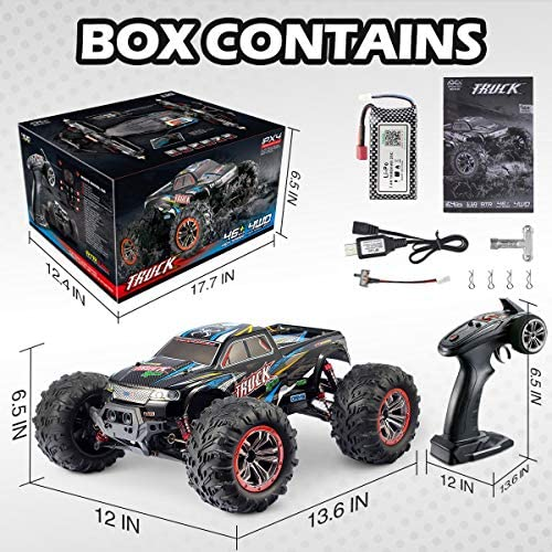 51 Z4DWY9+L. AC  - Hosim Large Size 1:10 Scale High Speed 46km/h 4WD 2.4Ghz Remote Control Truck 9125,Radio Controlled Off-Road RC Car Electronic Monster Truck R/C RTR Hobby Grade Cross-Country Car (Blue)